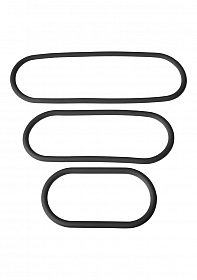 3 - Pack Silicone Slim  Wrap Ring - Black