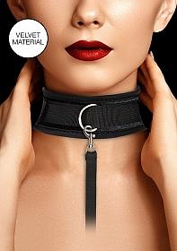 Velvet & Velcro Adjustable Collar with Leash