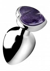 Gemstones Amethyst Heart Large Anal Plug