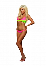 Color Block Top & Brief - Pink / Lime