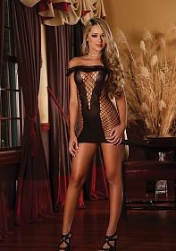 Ruffle Net Dress - Black