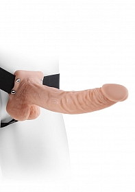 """9"""" Hollow Strap-On with Balls - Flesh"""