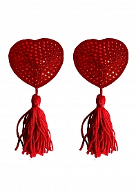 Nipple Tassels - Heart - Red