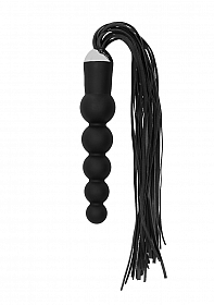 Black Whip with Curved Silicone Dildo - Black