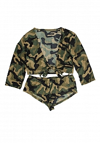 Hotpants + top Army M/L