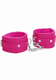Ouch! Plush Leather Hand Cuffs - Pink