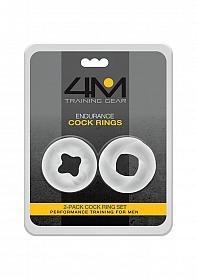 4M Endurance Cock Rings - 2 Pack - White