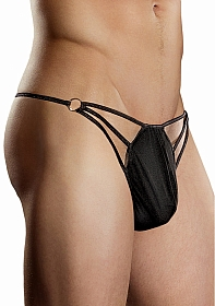 G-Thong with Straps & Rings - Black
