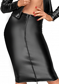 Wetlook skirt with handmade pleats  - Black