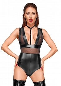 Wetlook and tule body with velvet choker - Black