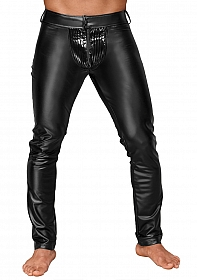 Wetlook trousers with PVC pleats - Black