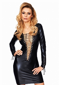 ENNA Wetlook Long Sleeve Mini Dress - Black