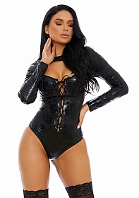 Distress With The Best Faux Leather Teddy - Black