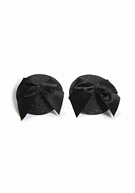 Burlesque Pasties - Glitter & Satin Bow - Black