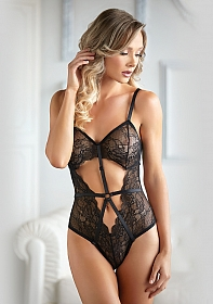 Lace and Mesh Teddy - Black