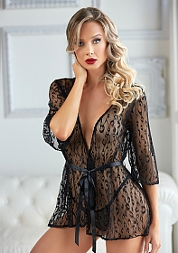 Leopard Lace Robe with G-string - Black