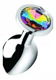 Rainbow Prism Gem Anal Plug - Medium - Silver